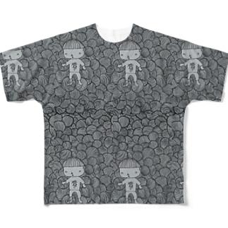 ぐるぐるの闇を彷徨う迷い子 刈り上げさん Full graphic T-shirts