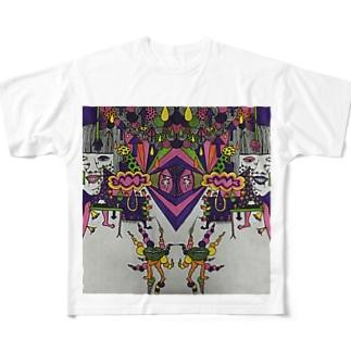 色付き口だけの人 Full graphic T-shirts