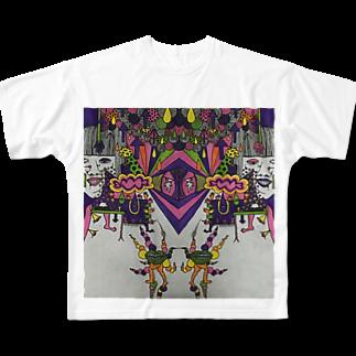 冬虫夏草洋品店の色付き口だけの人 Full graphic T-shirts