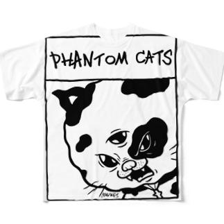 化け猫ドットフィアーフェイス Full graphic T-shirts
