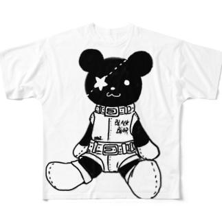 黒クマ君モノクロ Full graphic T-shirts