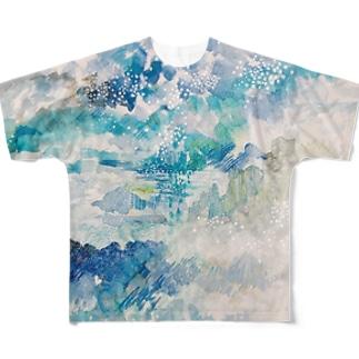 夜の雨と湿地帯 Full graphic T-shirts