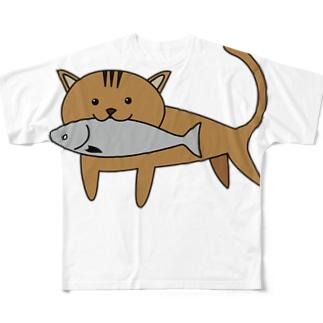 漁港猫 フルグラフィックTシャツ