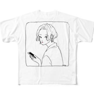 ふりむき Full graphic T-shirts