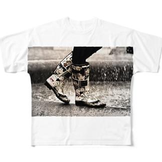 おしゃれ カジュアル レインブーツ Full graphic T-shirts