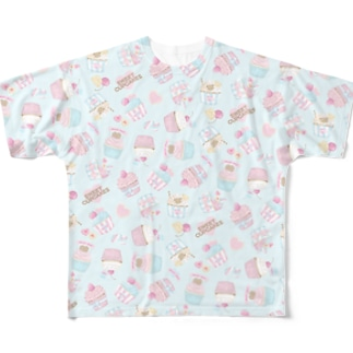 SWEET CUPCAKES 総柄 Full graphic T-shirts