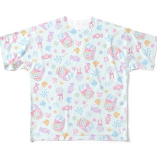 Bear's colorful candy 総柄 Full graphic T-shirts