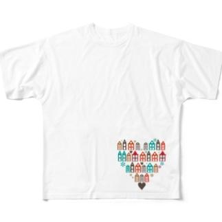 ハートの街並 フルグラフィックTシャツ