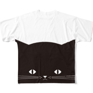 のぞき見ねこ Full graphic T-shirts