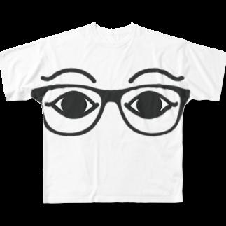 萬伽里の欲しいもの。のめがねメジェド様 Full graphic T-shirts