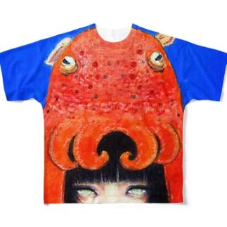 夕力夕゛女子「めんだこ」 Full graphic T-shirts