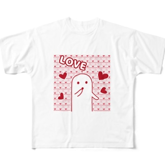白いハニワ【LOVE】 Full graphic T-shirts