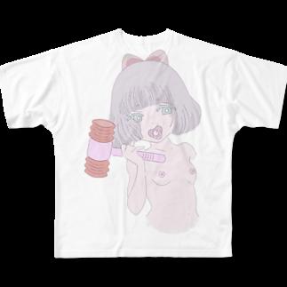びすけの言わぬが花 Full graphic T-shirts