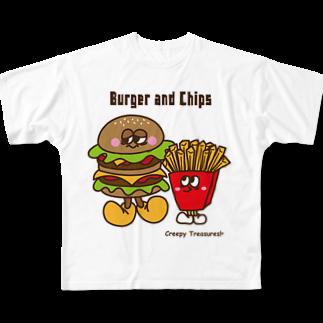 Creepy Treasures!のBurger and Chips Full graphic T-shirts