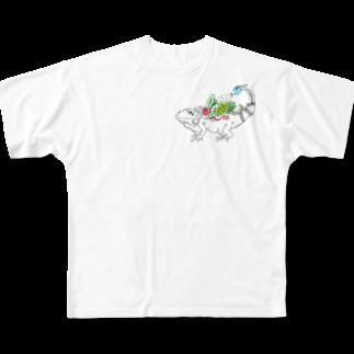 Aya@爬虫類グッズの自給自足イグアナ Full graphic T-shirts