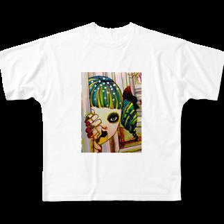 迷い子のリボンの向こう側を見つめる少女 Full graphic T-shirts