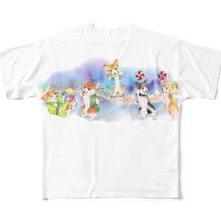 お祭りだワン フルグラフィックTシャツ