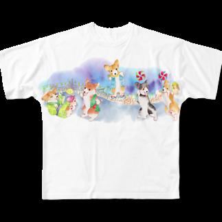 朱留のお祭りだワン フルグラフィックTシャツ