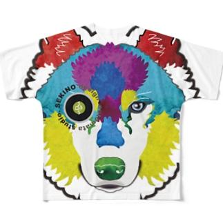 狼-絵具 フルグラフィックTシャツ