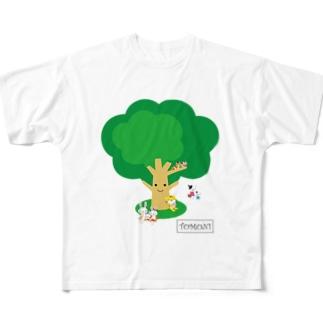 TOMONIの木(カラー) フルグラフィックTシャツ