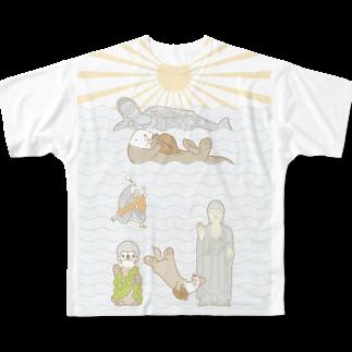 ザ・ワタナバッフルのラッコ+仏像 Full graphic T-shirts