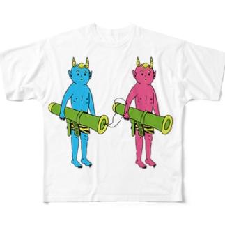 鬼に金棒 ダブル フルグラフィックTシャツ