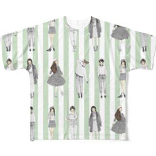 しましまガールズ(グリーン) フルグラフィックTシャツ