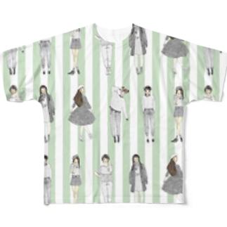 しましまガールズ(グリーン) Full graphic T-shirts