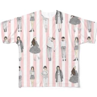 しましまガールズ(ピンク) フルグラフィックTシャツ