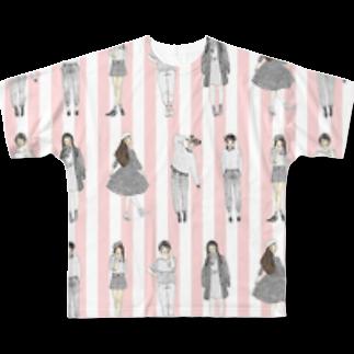 Matsuda Yuka(Ishikawa)のしましまガールズ(ピンク) Full graphic T-shirts