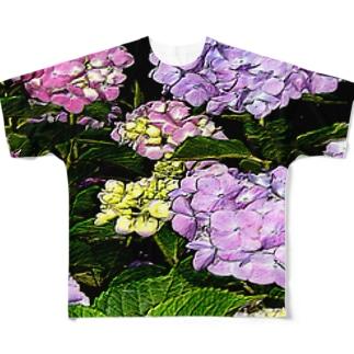 紫陽花イラスト フルグラフィックTシャツ