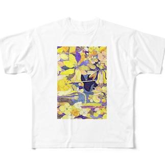 「花畑」黒うさぎ Full graphic T-shirts