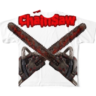 ロッキンロールチェインソー 赤&鉄色 Full graphic T-shirts