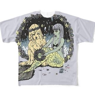人魚と犬イケメンTシャツ Full graphic T-shirts