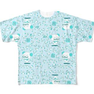 #ひつじです パニックブルー フルグラフィックTシャツ