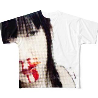 古来鼻血ガール Full graphic T-shirts