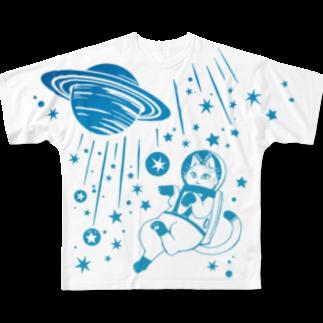 金星灯百貨店の白猫の夢・宇宙の夢 フルグラフィックTシャツ