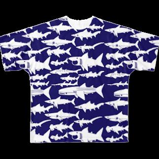 図鑑Tシャツだよのサメいっぱい Full graphic T-shirts