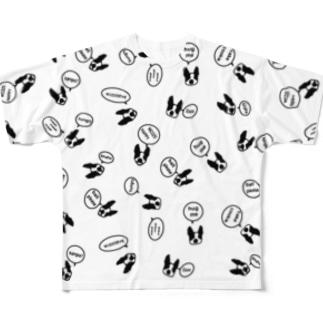 吹き出しボストンテリア フルグラフィックTシャツ