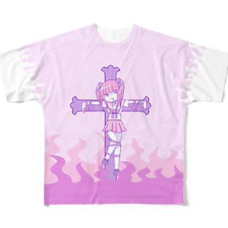 江崎びす子のスズリのメンヘラ狩りフルグラフィックTシャツ