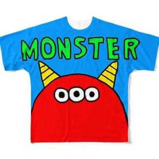 赤3つ目モンスター フルグラフィックTシャツ
