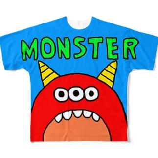 赤モンスター フルグラフィックTシャツ