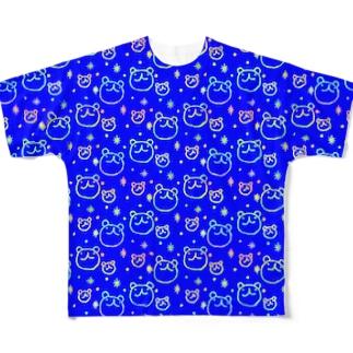 ウゲロくま・ポチキラ青 フルグラフィックTシャツ