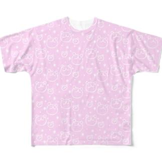 ウゲロくま・ポチキラピンク フルグラフィックTシャツ