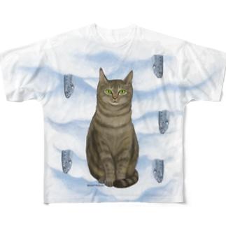キジトラとイワシ Full graphic T-shirts