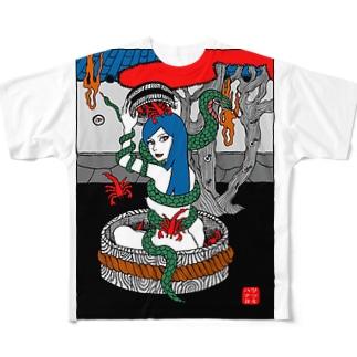 蛇蠍 フルグラフィックTシャツ
