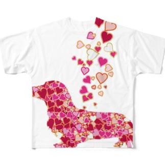 可愛いハートのふりかけダックス Full graphic T-shirts