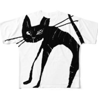 black tabby cat 黒 トラ猫 Full graphic T-shirts