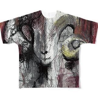 【マロングラッセ・のりこ作】ひつじ Full graphic T-shirts