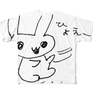 肉食うさぎ ひょえー フルグラフィックTシャツ